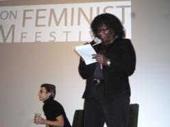 Femi Otitoju and Linda Long at the panel discussion after the showing in London